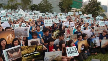 Hundreds of protesters demanded the government to drop the artificial beach construction project in Lung Mei. Photo taken by Mary Chan, used with permission.