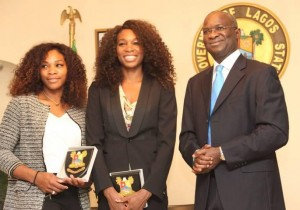 Babatunde Fashola (Governor of Lagos) with Venus and Serena Williams (Photo Credit: Osun Defender)