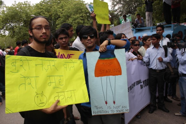 Men participating at the Delhi Slutwalk.
