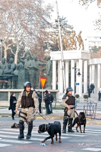 Police with dogs. Monuments in background. Skopje, Macedonia. Photo by Vachno Dzambaski, CC BY-NC-SA.