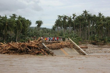 A damaged bridge in Caraga region