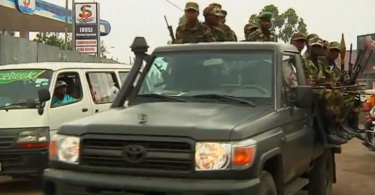 M23 rebels on a truck in the streets of Goma, after they captured it in November 2012