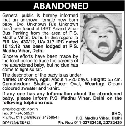 Girl Child Abandoned in Delhi