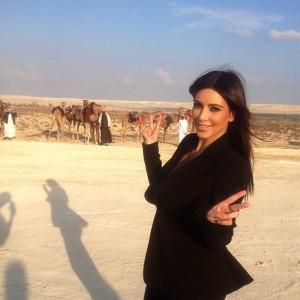Kim Kardashian posing with camels in Bahrain