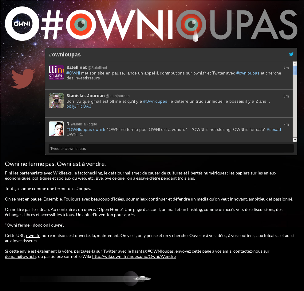 #OWNIoupas, screenshot of the home page of the website.