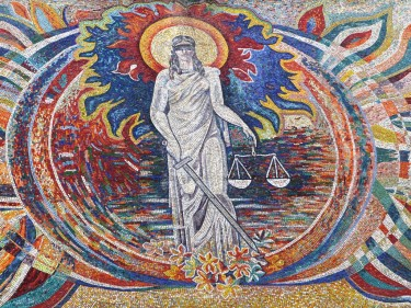 A mosaic of Themis, the Hellenic goddess of justice, at the Tajik Constitutional Court in Dushanbe. Photo by Alexander Sodiqov (2011).
