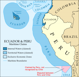 Map of the maritime claims of Ecuador, Peru, and surrounding countries