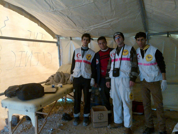A photograph inside the medical tent, shared on Twitter by @Tweet_Palestine