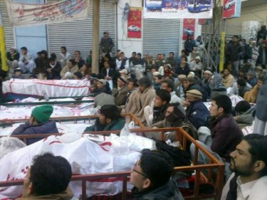 People sitting in Quetta with the cadaver of their loved ones.