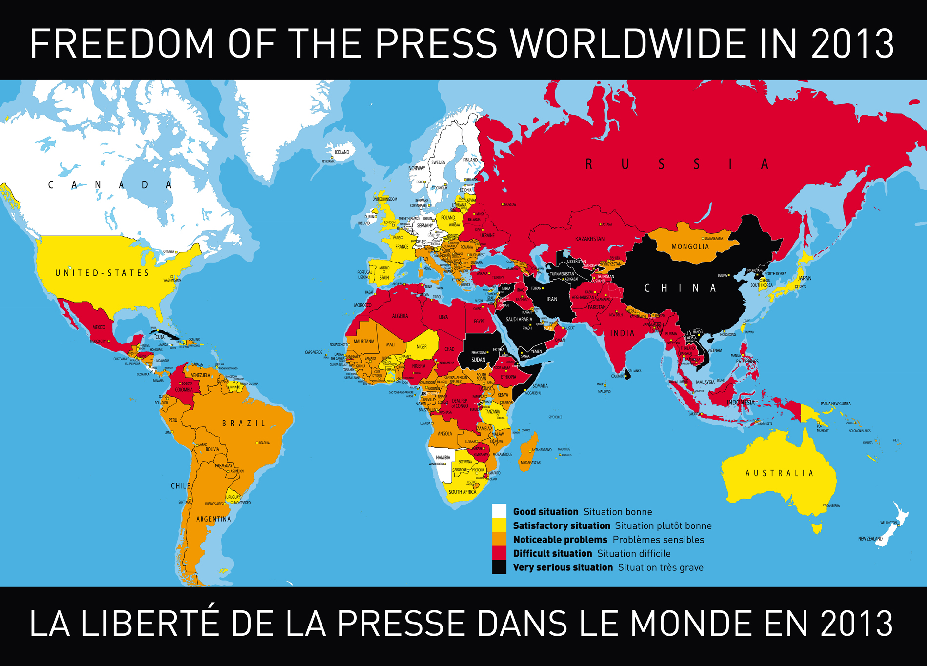 Freedom-of-the-press-worldwide-in-2013. Source: Reporters without Borders on facebook
