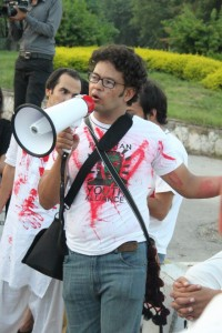 Irfan Ali during a protest against sectarian violence in Islamabad, September 2012. FRom the Facebook page of Pakistan Youth Alliance.