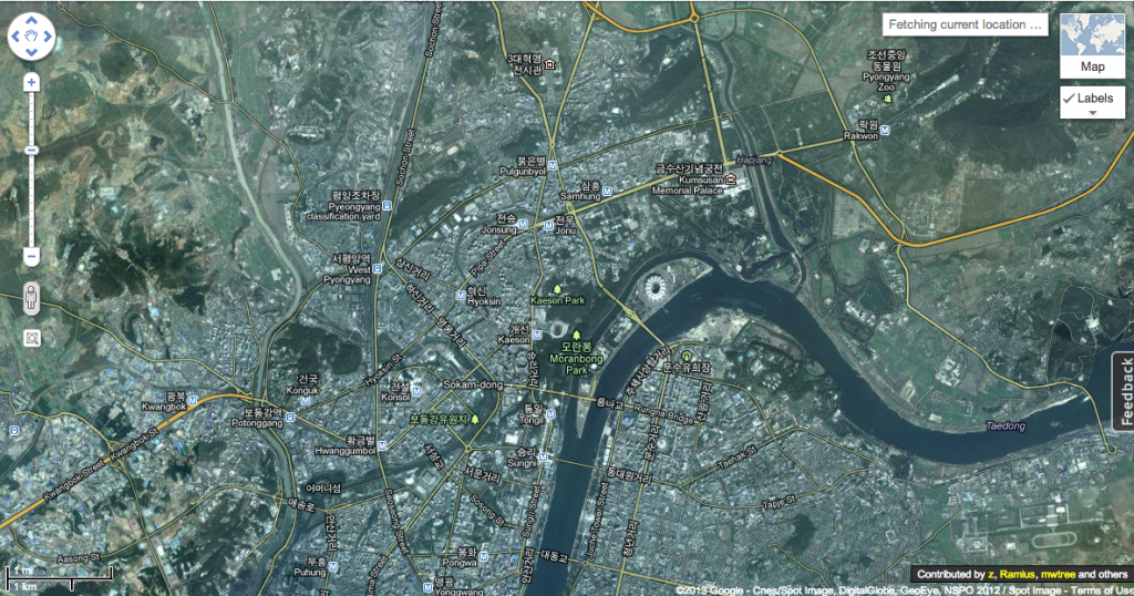 North Korea in Google Map