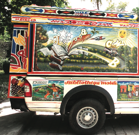 BiblioTaptap Bookmobiles in Haiti. Photo from the Libraries Without Borders website.