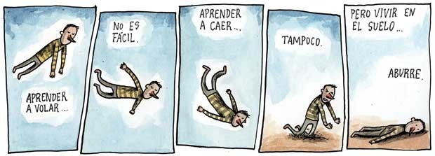 A comic strip by Liniers posted on Pós-Pop, a blog about pop culture.