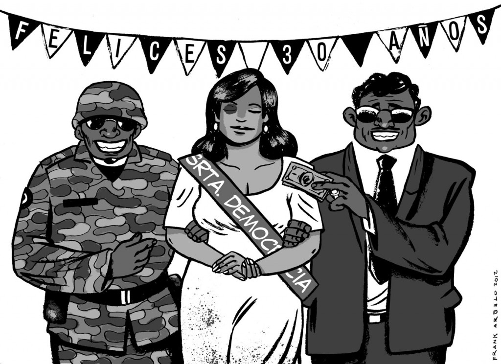 "Image posted on El blog de Arbelo, a Bolivian artist. ""Lady Democracy and her two husbands"", reference to a Brazilian novel and movie."