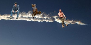 Sad Keanu and Belochka the Hell Squirrel join Putin atop meteorite contrail. Anonymous image widely disseminated online