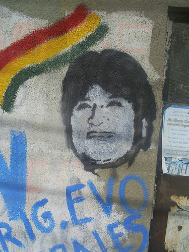 Evo Morales image during presidential campaign. Photo by vocesbolivianas on Flickr, under Creative Commons license (CC BY-NC-SA 2.0)