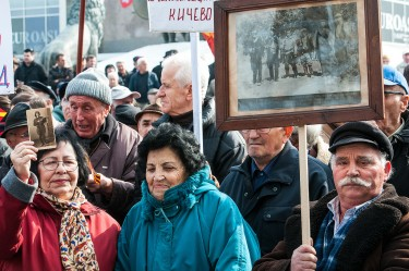 Elderly participants in anti-fascist protest in Skopje, Macedonia
