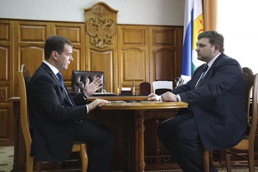 Dmitry Medvedev with Governor of Kirov Region Nikita Belykh, 14 May 2009, photo by Presidential Press and Information Office, CC 3.0.