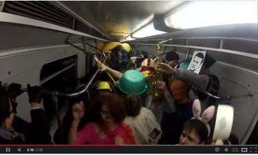 Passengers dancing to Harlem Shake song on Kyiv subway.