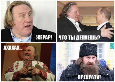 Gérard Depardieu's Russian transformation. (An anonymous image widely circulated online.)