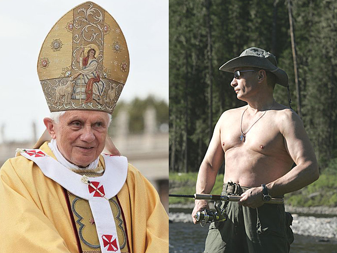While Benedict XVI is retiring, President Putin still has some juice left. Pope Benedict in Poland, October 17, 2010. © Kancelaria Prezydenta RP. GNU Licence. Vladimir Putin in Tuva, August 13, 2007. © www.kremlin.ru