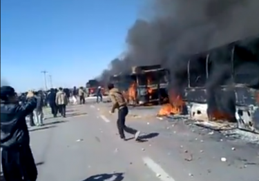 Angry farmers burn busses in Isfahan