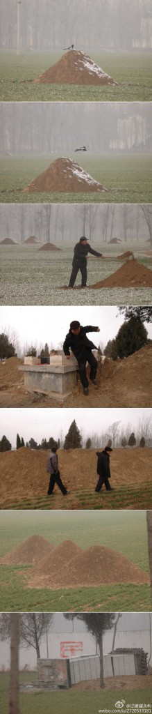 Photos showing how villagers in Henan province re-erecting their ancestors' graves.   From Weibo user @记者崔永利