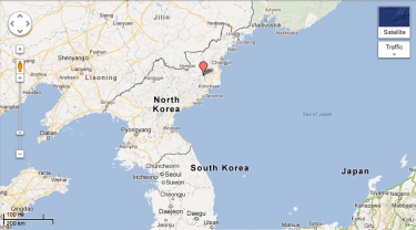 Location of the North Korea nuclear test. It is a lot closer to China than South Korea and Japan.