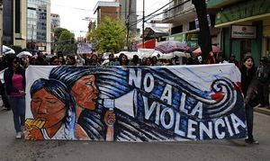 Activists in Cochabamba protest against the alarming rates of violence against women. Photo by Stephanie Weiss.