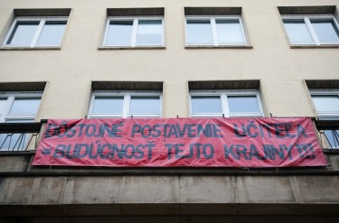 "A banner on a school building in Slovakia reads: ""The dignity of a teacher = The future of this country."" Photo by Igor Svítok, copyright © Demotix (11/22/12)."