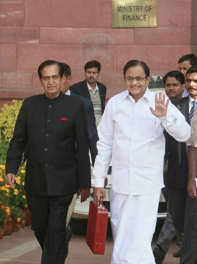 P. Chidambaram, India's Finance Minister, with his deputy minister before heading to Parliament to table the budget of 2013-2014. Image by Ranjan Basu. Copyright Demotix (28/2/2013)