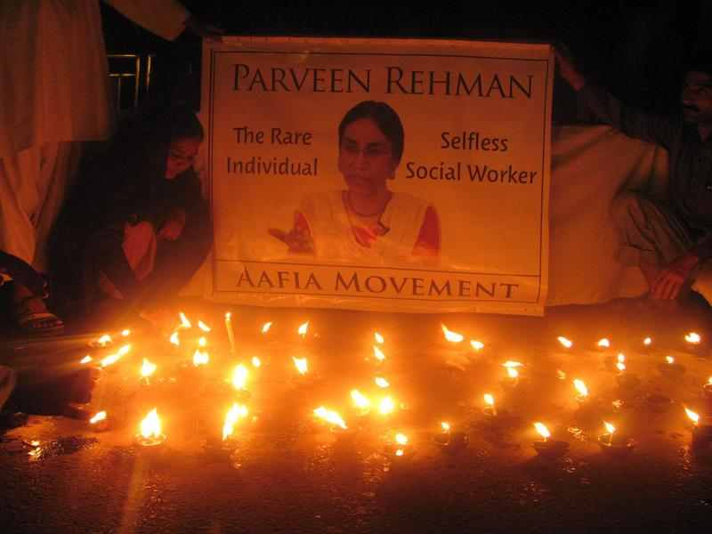 Tribute to social worker Parveen Rehman killed by terrorist in Karachi, Image by Ayuib. Copyright Demoyix (14/3/2013)
