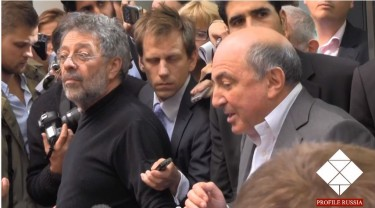 Berezovsky giving a post-trial interview. YouTube screenshot. March 26, 2013