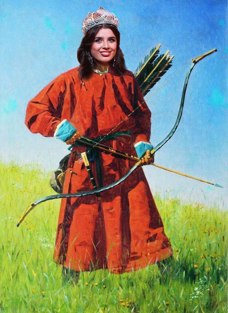 "An artist's depiction of how Russian nationalists may view Elmira Abdrazakova. Image remixed using Vereschagin's ""A Bukharian Soldier"", CC 2.0 Wikimedia Commons."
