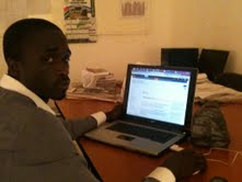 Ousman  Faal at work. Photo courtesy of Demba Kandeh.