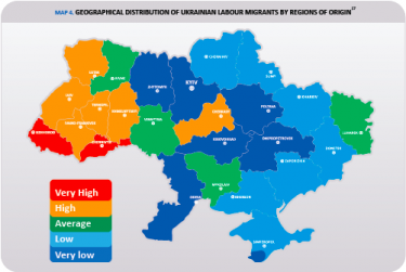 A map of geographical distribution of Ukrainian labor migrants by regions of origin. Source: International Organization for Migration (IOM)