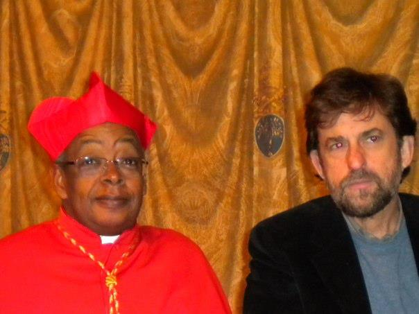 "Global Voices has a cardinal! Author Abdoulaye Bah with director Nanni Moretti on the set of the film ""We Have a Pope"""
