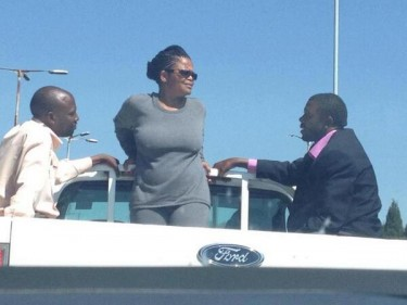 Beatrice Mtetwa in the back of a police van. Photo courtesy of Zimbabwe