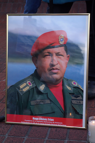 """Memorial for Hugo Chavez at 24th & Mission in San Francisco"", by Steve Rhodes, used under a Creative Commons license."