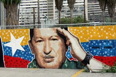 جدارية لهوجو شافيز في كاراكاس، فنزويلا