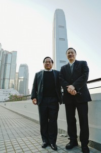 Albert Ho and Benny Tai in Central. Photo from inmediahk.net. CC: AT-NC