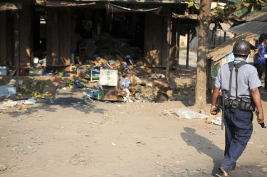 A destroyed shop owned by a Muslim in Sitkwin. Photo by Thet Htoo, Copyright@ Demotix (3/29/2013)