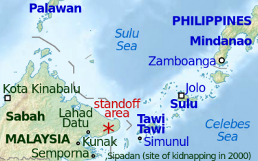 Map of Sabah and the standoff in Lahad Datu. Photo from Wikipedia