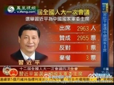 The results of the vote was circulated on Weibo with netizens wondering who cast the vote of dessent.