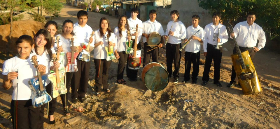 Paraguayan music students show their instruments made out of trash. Photo shared on Facebook by Landfill Harmonic
