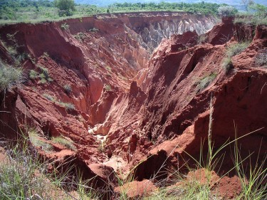 Lavaka (erosion gully) in Madagascar caused by deforestation via wikipedia CC-BY-2.0