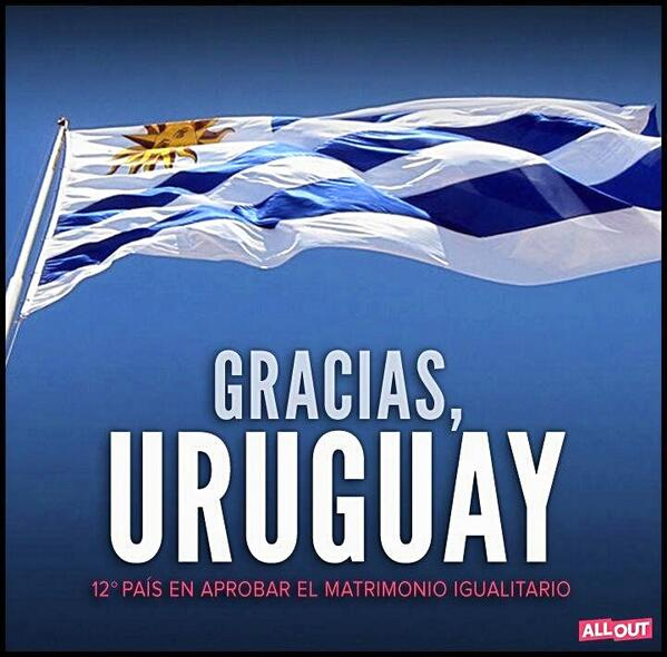 Thank you, Uruguay. 12th country to approve equal marriage. Photo shared by @Pedro_Zerolo on Twitter