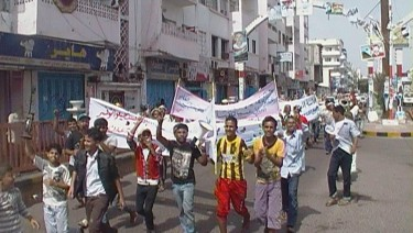Anger march to protest electricity and water cuts in Yemen. Photograph shared on Twitter by @Alaalsam