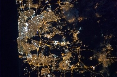 Tel Aviv from Space. Photograph shared by @Cmdr_Had field on Twitter